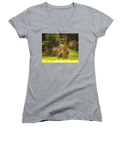 Women's V-Neck featuring the photograph Buck by Angel Cher