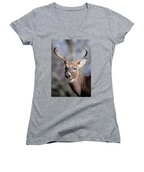 Buck Headshot Women's V-Neck T-Shirt (Junior Cut) by Tyson and Kathy Smith
