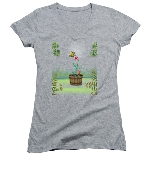 Bucket Butterfly 1 Women's V-Neck