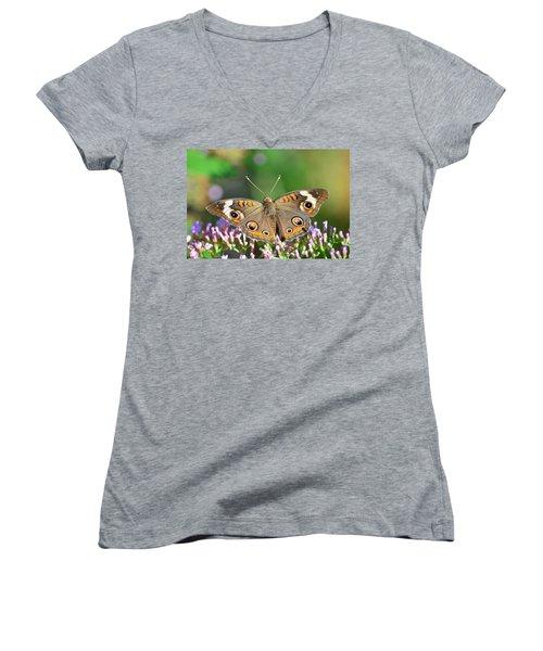 Buckeye Butterfly Women's V-Neck T-Shirt (Junior Cut) by Kathy Eickenberg