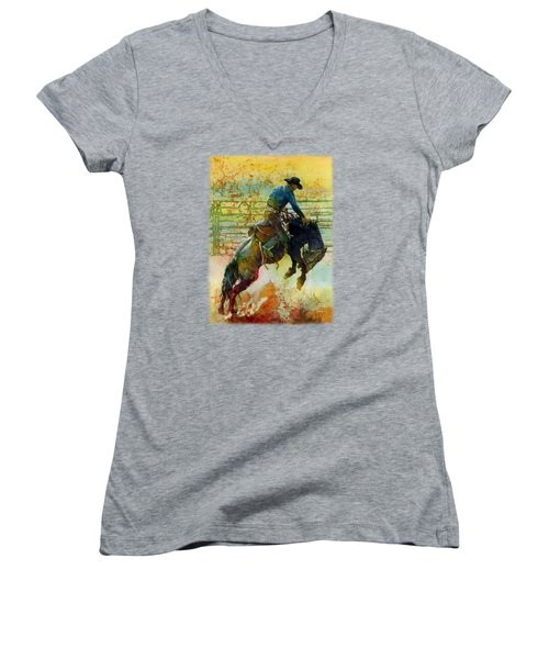 Women's V-Neck T-Shirt (Junior Cut) featuring the painting Bucking Rhythm by Hailey E Herrera