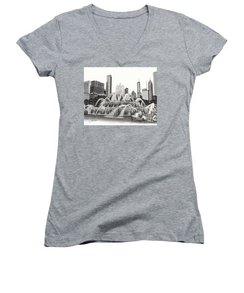 Buckingham Fountain Drawing Women's V-Neck (Athletic Fit)