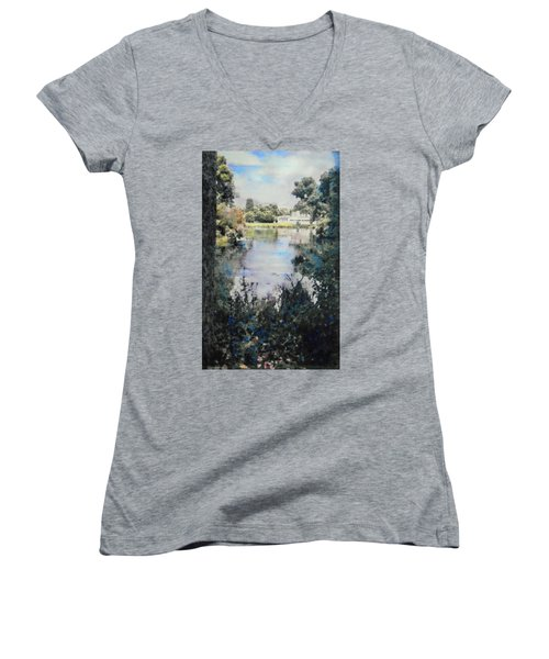 Women's V-Neck T-Shirt (Junior Cut) featuring the painting Buckingham Palace Garden - No One by Richard James Digance