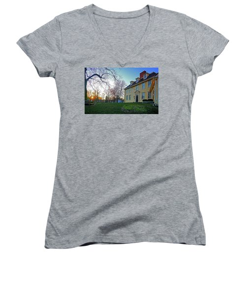 Buckman Tavern At Sunset Women's V-Neck