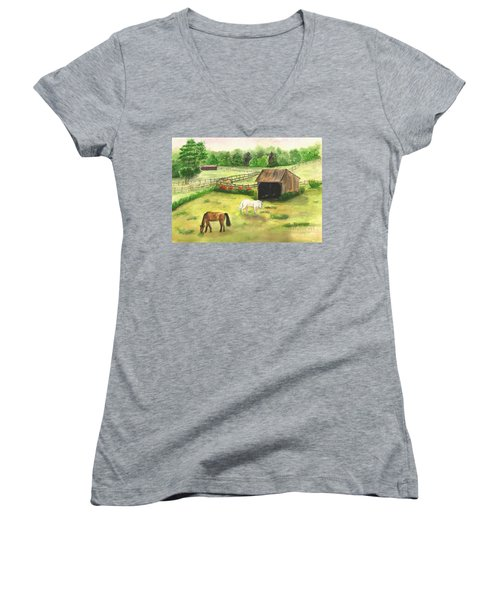 Bucks County Horse Farm Women's V-Neck T-Shirt (Junior Cut) by Lucia Grilletto