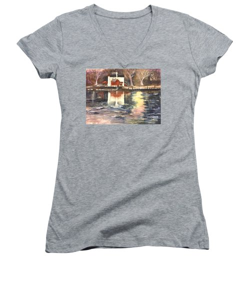 Bucks County Playhouse Women's V-Neck T-Shirt (Junior Cut) by Lucia Grilletto