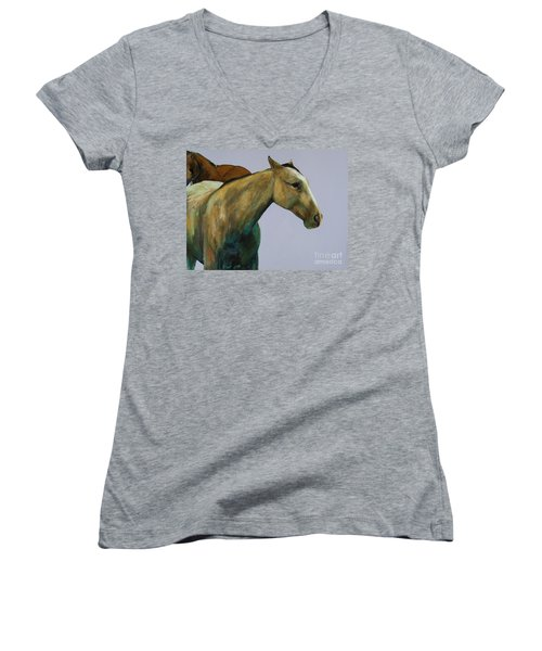 Buckskin Women's V-Neck T-Shirt (Junior Cut) by Frances Marino