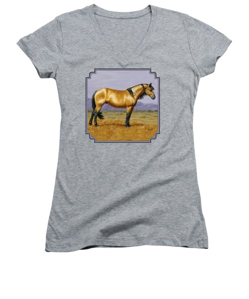 Buckskin Mustang Stallion Women's V-Neck