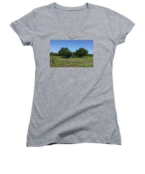 Women's V-Neck T-Shirt (Junior Cut) featuring the photograph Buda Sweet Home - #42116 by Joe Finney