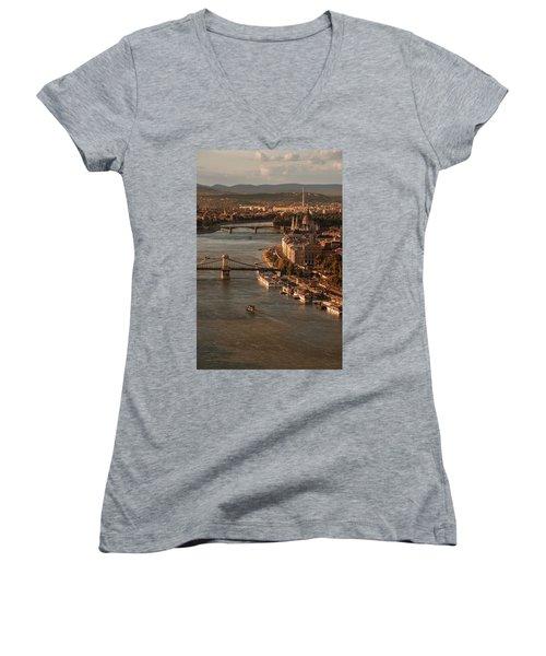 Budapest In The Morning Sun Women's V-Neck T-Shirt (Junior Cut) by Jaroslaw Blaminsky