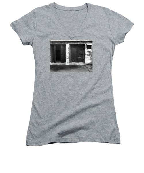 Women's V-Neck T-Shirt (Junior Cut) featuring the photograph Buddha 2 by Laurie Stewart