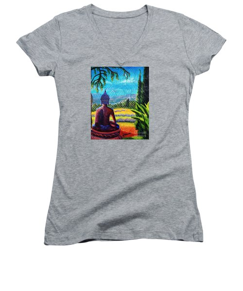 Women's V-Neck T-Shirt (Junior Cut) featuring the painting Buddha Atop The Lavender Farm by Janet McDonald