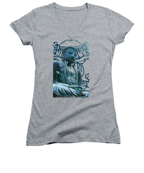 Buddha Great Statue Women's V-Neck (Athletic Fit)