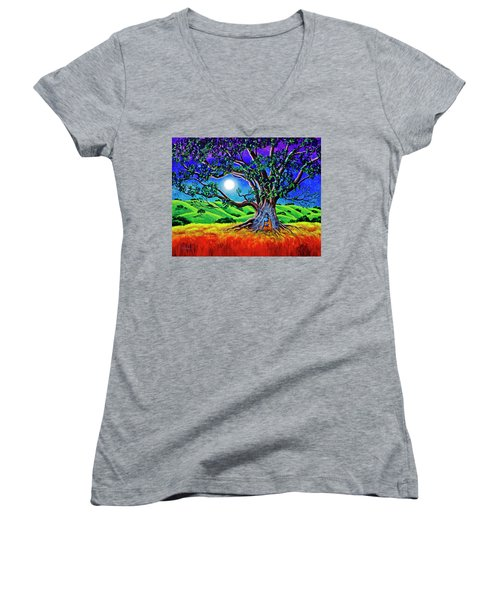 Buddha Healing The Earth Women's V-Neck T-Shirt (Junior Cut) by Laura Iverson