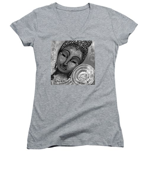 Buddha In Grey Tones Women's V-Neck T-Shirt