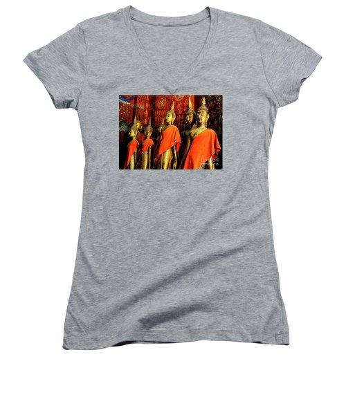 Women's V-Neck T-Shirt (Junior Cut) featuring the photograph Buddha Laos 2 by Bob Christopher