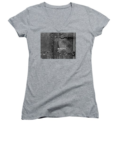 Women's V-Neck T-Shirt (Junior Cut) featuring the photograph Buddha by Laurie Stewart