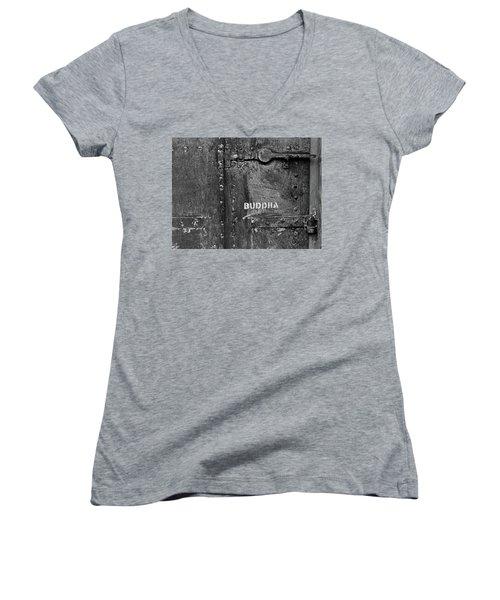 Buddha Women's V-Neck T-Shirt (Junior Cut) by Laurie Stewart