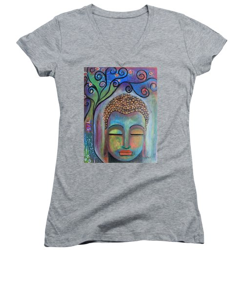 Buddha With Tree Of Life Women's V-Neck T-Shirt (Junior Cut) by Prerna Poojara
