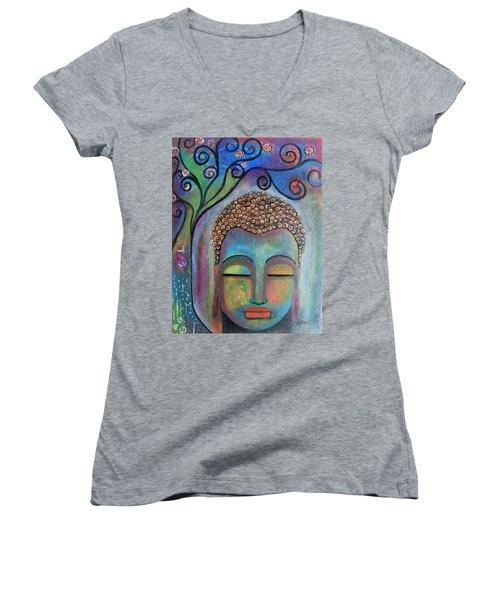 Buddha With Tree Of Life Women's V-Neck