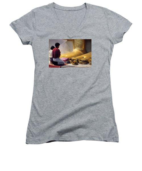 Women's V-Neck T-Shirt (Junior Cut) featuring the photograph Buddhist Thai People Praying by Heiko Koehrer-Wagner