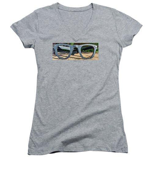 Buddy Holly Glasses Women's V-Neck