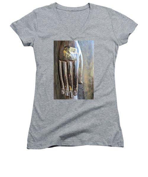Budha's Hand Women's V-Neck T-Shirt (Junior Cut) by Ethna Gillespie