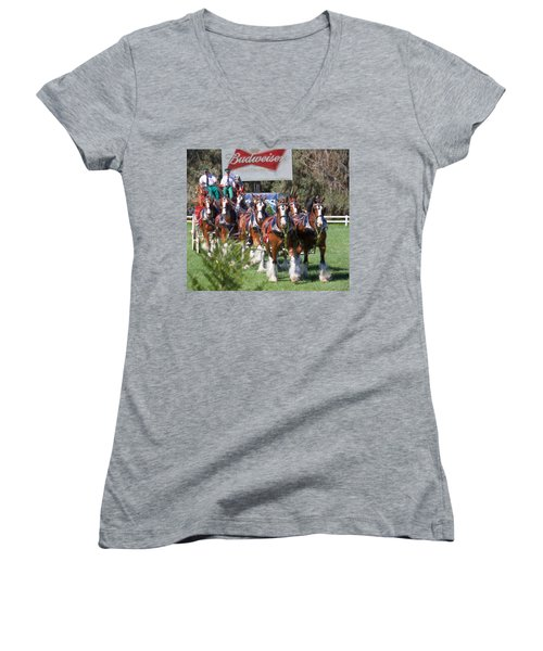 Women's V-Neck featuring the photograph Budweiser Clydesdales Perfection by Alice Gipson