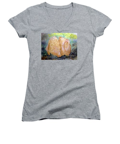 Buff Orpington Hens In The Garden Women's V-Neck (Athletic Fit)