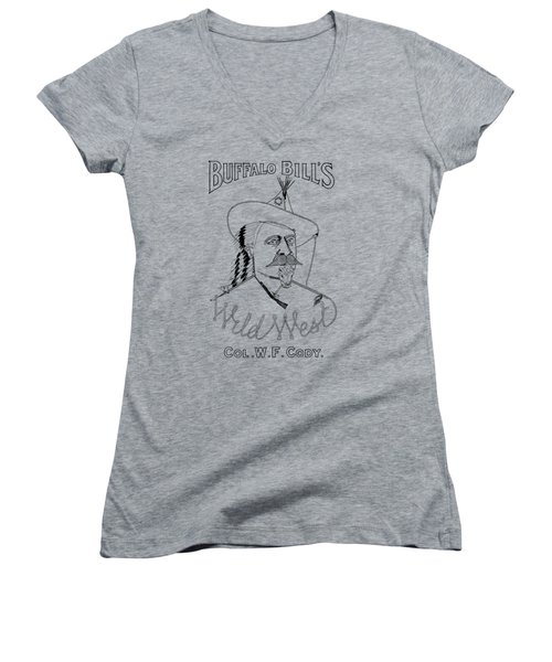 Buffalo Bill's Wild West - American History Women's V-Neck T-Shirt (Junior Cut) by War Is Hell Store