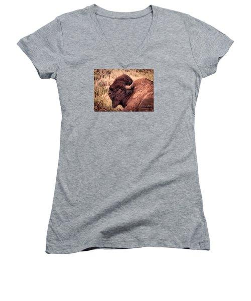 Women's V-Neck T-Shirt (Junior Cut) featuring the photograph Buffalo Eye On You by Janice Rae Pariza
