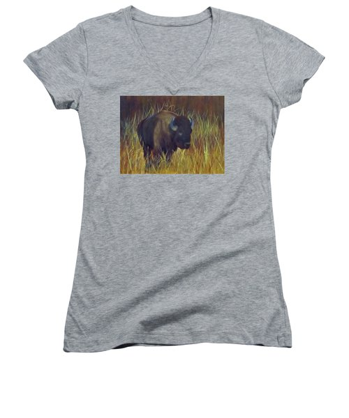Buffalo Grazing Women's V-Neck (Athletic Fit)