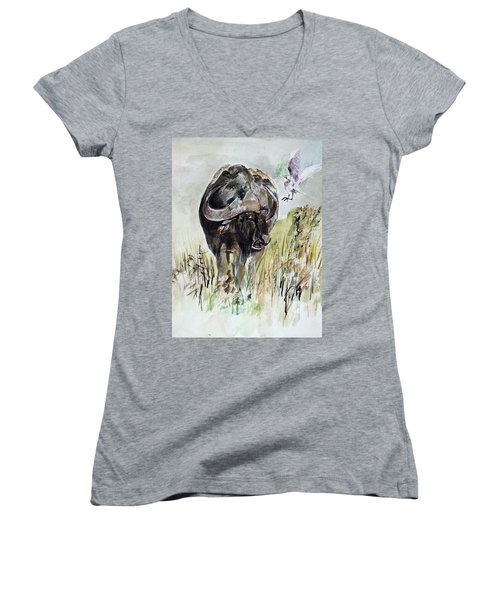 Buffalo Women's V-Neck T-Shirt (Junior Cut) by Khalid Saeed