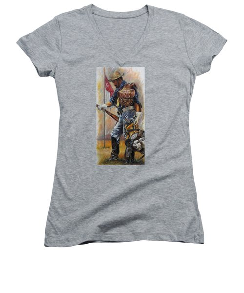 Buffalo Soldier Outfitted Women's V-Neck T-Shirt (Junior Cut) by Harvie Brown