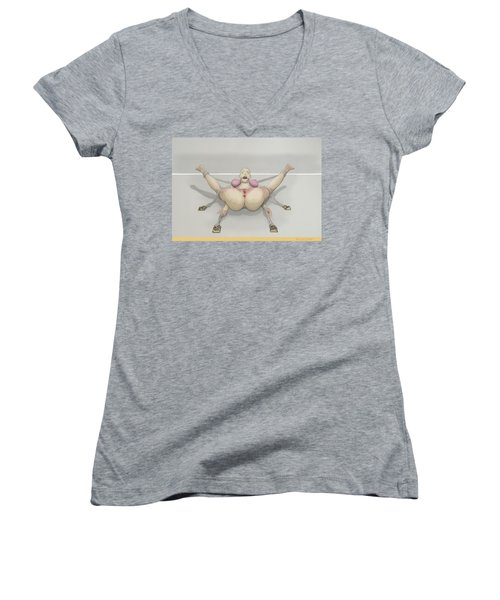 Women's V-Neck featuring the mixed media Bug On Its Back by TortureLord Art