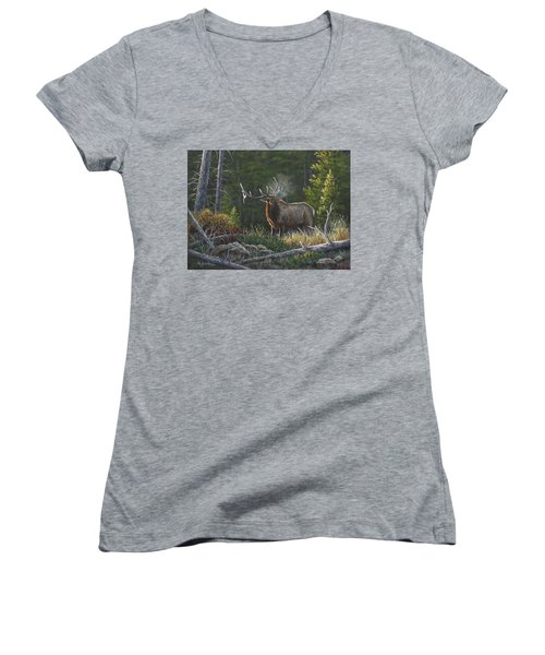 Women's V-Neck T-Shirt (Junior Cut) featuring the painting Bugling Bull by Kim Lockman