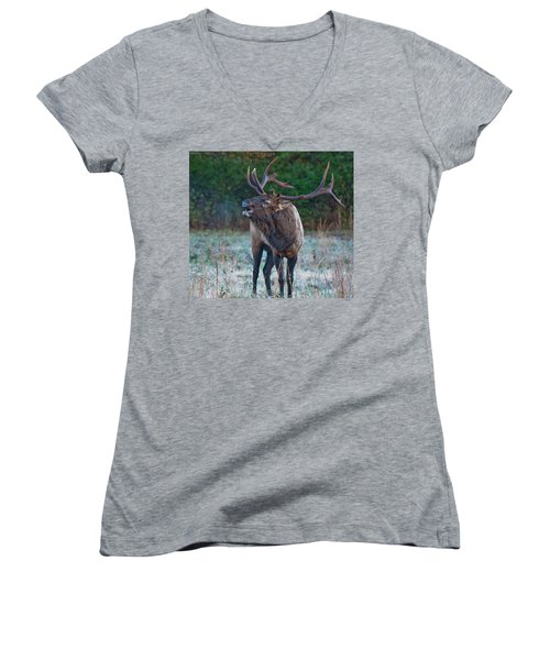 Women's V-Neck featuring the photograph Bugling Elk by Rick Hartigan