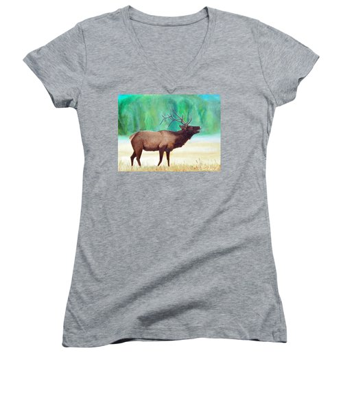 Bugling Elk Women's V-Neck T-Shirt (Junior Cut) by Sherril Porter
