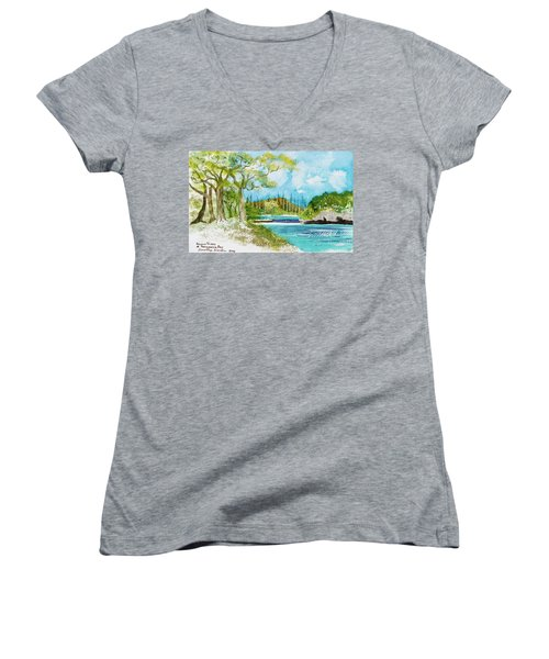 Bugny Trees At Kanumera Bay, Ile Des Pins Women's V-Neck