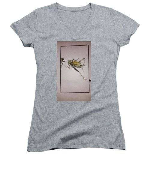 Women's V-Neck T-Shirt (Junior Cut) featuring the painting Bugs And Blooms Album by Debbi Saccomanno Chan