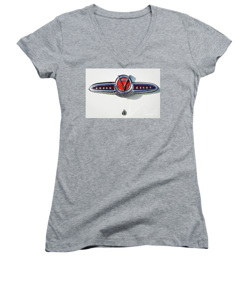 Women's V-Neck T-Shirt (Junior Cut) featuring the photograph Buick V Eight by Dennis Hedberg