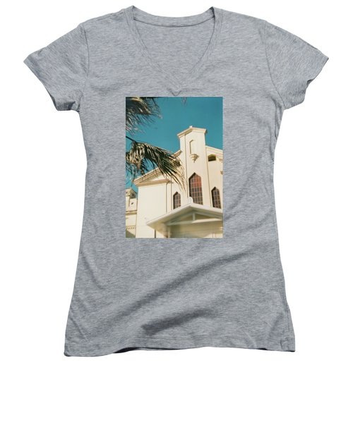 Building Behind Palm Tree In Ostia, Rome Women's V-Neck (Athletic Fit)