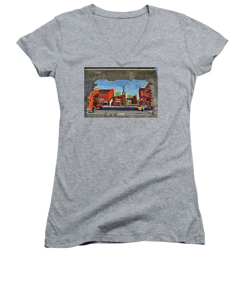 Building Mural - Cuba New York 001 Women's V-Neck T-Shirt (Junior Cut) by George Bostian