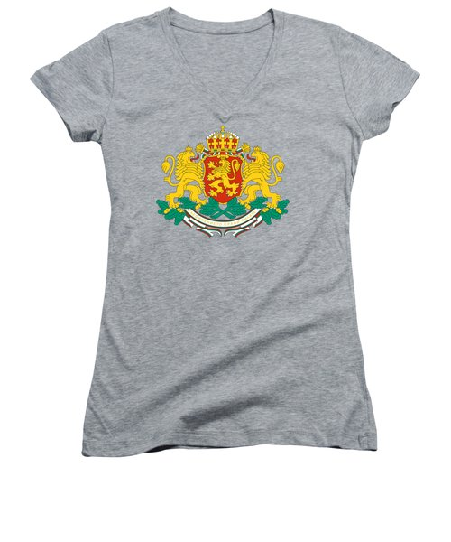 Women's V-Neck T-Shirt (Junior Cut) featuring the drawing Bulgaria Coat Of Arms by Movie Poster Prints
