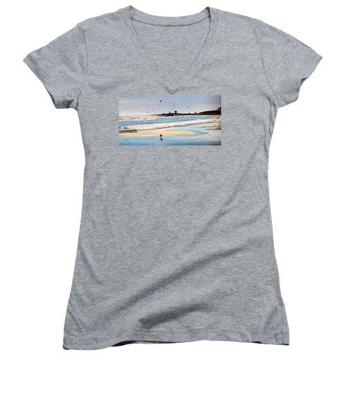 Bull Beach Women's V-Neck T-Shirt (Junior Cut) by Marilyn McNish