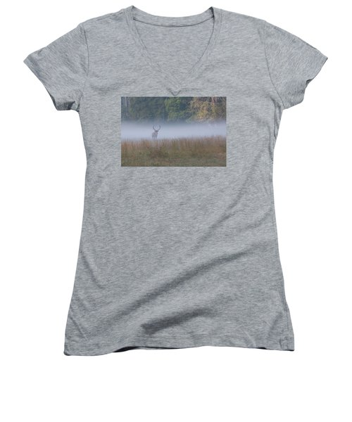Bull Elk Disappearing In Fog - September 30 2016 Women's V-Neck