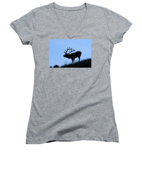 Bull Elk Silhouette Women's V-Neck T-Shirt (Junior Cut) by Larry Ricker