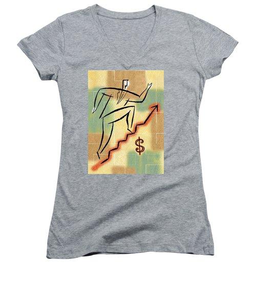 Women's V-Neck T-Shirt (Junior Cut) featuring the painting Bull Market by Leon Zernitsky