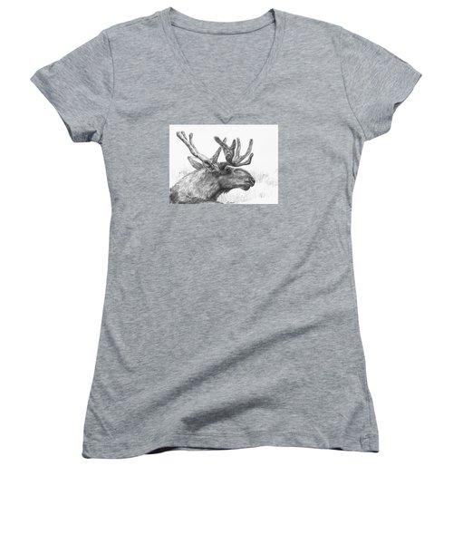 Women's V-Neck T-Shirt (Junior Cut) featuring the drawing Bull Moose Study by Meagan  Visser