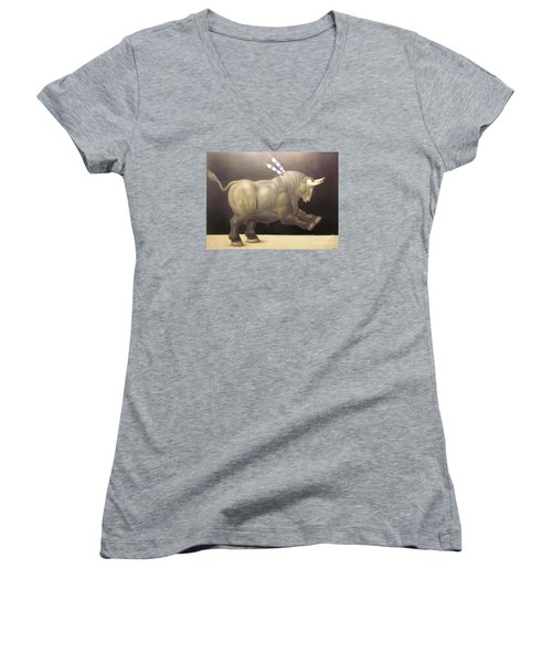 bull painting Botero Women's V-Neck T-Shirt